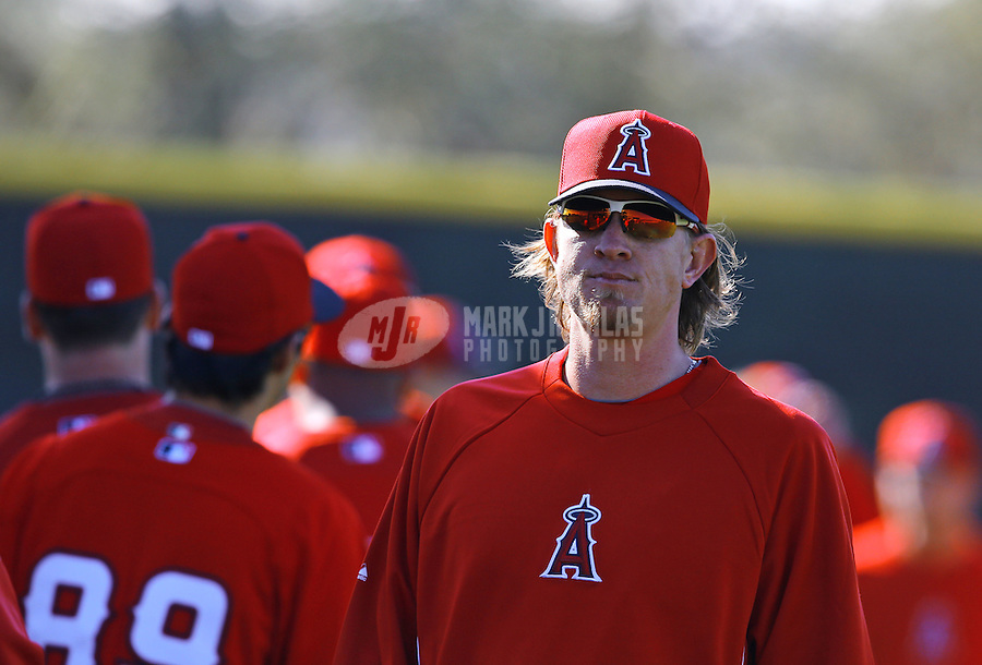Feb. 12, 2013; Tempe, AZ, USA: Los Angeles Angels pitcher Jered Weaver during spring training at Tempe Diablo Stadium. Mandatory Credit: Mark J. Rebilas-USA TODAY Sports
