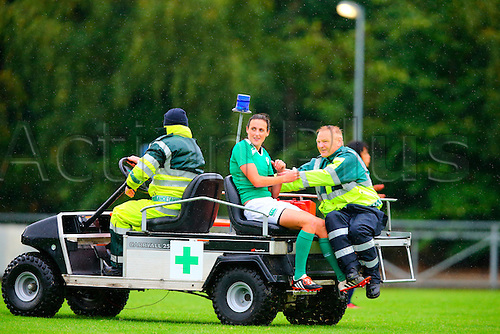 23.08.2015. Dublin, Ireland. Women's Sevens Series Qualifier 2015. Japan versus Ireland<br /> Hannah Tyrrell (Ireland) is taken away by the medics.
