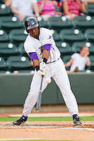 Juan Silverio #18 of the Winston-Salem Dash drives the ball to right field for a triple against the Myrtle Beach Pelicans at BB&T Ballpark on July 5, 2012 in Winston-Salem, North Carolina.  The Dash defeated the Pelicans 12-5.  (Brian Westerholt/Four Seam Images)