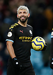 Sergio Aguero of Manchester City with the match ball after he scored a hatrick during the Premier League match at Villa Park, Birmingham. Picture date: 12th January 2020. Picture credit should read: Darren Staples/Sportimage