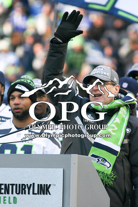 2014-02-05:  Chairman, Seattle Seahawks and First & Goal Inc Paul Allen thanks the fans in attendance on Wednesday. Seattle Seahawks players and 12th man fans celebrated bringing the Lombardi trophy home to Seattle during the Super Bowl Parade at Century Link Field in Seattle, WA.