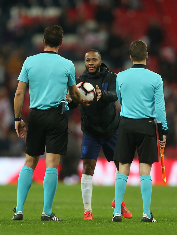 England's Raheem Sterling receives the match ball<br /> <br /> Photographer Rob Newell/CameraSport<br /> <br /> UEFA Euro 2020 Qualifying round - Group A - England v Czech Republic - Friday 22nd March 2019 - Wembley Stadium - London<br /> <br /> World Copyright © 2019 CameraSport. All rights reserved. 43 Linden Ave. Countesthorpe. Leicester. England. LE8 5PG - Tel: +44 (0) 116 277 4147 - admin@camerasport.com - www.camerasport.com