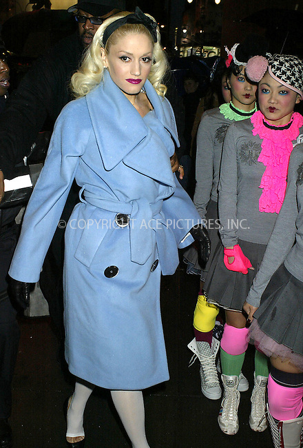WWW.ACEPIXS.COM ** ** ** ..***EXCLUSIVE!!! FEE MUST BE NEGOTIATED FIRST!!!***....NEW YORK, NOVEMBER 12, 2004....Gwen Stefani arrives for her TRL appearance with an entourage of Japanese Harajuku Girls.....Please byline: Philip Vaughan -- ACE PICTURES... *** ***  ..Ace Pictures, Inc:  ..Alecsey Boldeskul (646) 267-6913 ..Philip Vaughan (646) 769-0430..e-mail: info@acepixs.com..web: http://www.acepixs.com