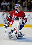 22 November 2008: Montreal Canadiens' goaltender Carey Price warms up prior to a game against the Boston Bruins at the Bell Centre in Montreal, Quebec, Canada. The Canadiens, celebrating their 100th season, honored goaltender Patrick Roy during pre-game ceremonies where all team members wore his number 33 during warm-ups, which was retired that evening.  ***** Editorial Use Only *****..Mandatory Photo Credit: Ed Wolfstein Photo *** Editorial Sales through Icon Sports Media *** www.iconsportsmedia.com