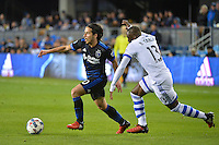 San Jose, CA - Saturday, March 04, 2017: Jahmir Hyka, Ballou Jean-Yves Tabla during a Major League Soccer (MLS) match between the San Jose Earthquakes and the Montreal Impact at Avaya Stadium.