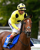 Yourtimeisnow ridden by Andrea Atzeni goes down to the start  of The Shadwell Dick Poole Fillies' Stakes  during the Bathwick Tyres & EBF Race Day at Salisbury Racecourse on 6th September 2018