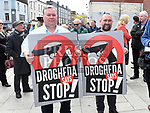 Cllr Paul Bell and Brian Condra at the rally against voilence in the town. Photo:Colin Bell/pressphotos.ie