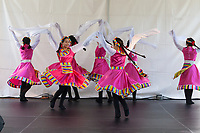 Girls dancing Chinese Long Sleeve Dance, Northwest Folklife Festival 2016, Seattle Center, Washington, USA.