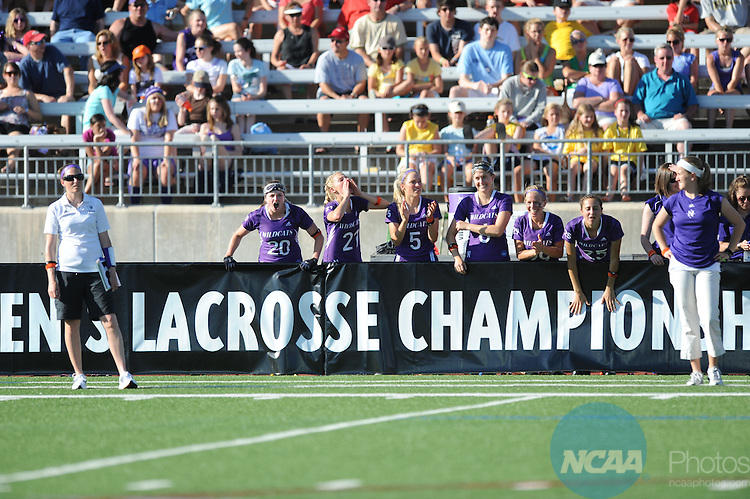 30 MAY 2010: The University of Maryland takes on Northwestern University during the Division I Women's Lacrosse Championship held at Johnny Unitas Stadium in Towson, MD.  Maryland defeated Northwestern 13-11 to win the national title. Greg Fiume/ NCAA Photos.