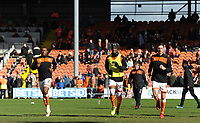 (L-R) Blackpool's Donervon Daniels, Armand Gnanduillet and Ben Heneghan during the pre-match warm-up <br /> <br /> Photographer Kevin Barnes/CameraSport<br /> <br /> The EFL Sky Bet League One - Blackpool v Southend United - Saturday 9th March 2019 - Bloomfield Road - Blackpool<br /> <br /> World Copyright © 2019 CameraSport. All rights reserved. 43 Linden Ave. Countesthorpe. Leicester. England. LE8 5PG - Tel: +44 (0) 116 277 4147 - admin@camerasport.com - www.camerasport.com