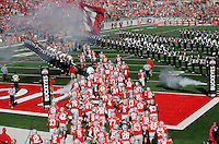 The Ohio State Buckeyes take the field before the college football game between the Ohio State Buckeyes and the Maryland Terrapins at Ohio Stadium in Columbus, Saturday afternoon, October 10, 2015. As of half time the Ohio State Buckeyes led the Maryland Terrapins 21 - 14. (The Columbus Dispatch / Eamon Queeney)