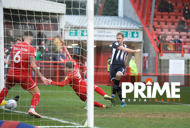 James Hanson of Grimsby Town scores to make it 1-2 during the Sky Bet League 2 match between Crawley Town and Grimsby Town at The People's Pension Stadium, Crawley, England on 25 January 2020. Photo by Alan  Stanford / PRiME Media Images.