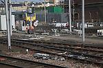 Workers repair railway line