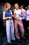 'GAYFEST MANCHESTER, UK', TWO YOUNG FEMALE REVELLERS OUTSIDE ONE OF THE MANY PUBS OPEN AT THE GAY PARADE IN MANCHESTER,