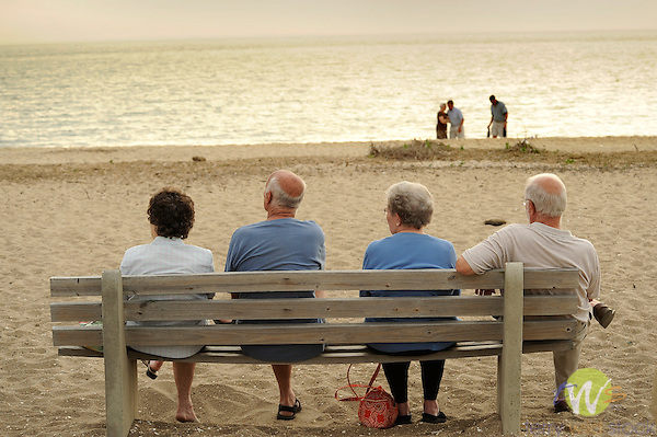 Older couples on bench at Cape May Point.