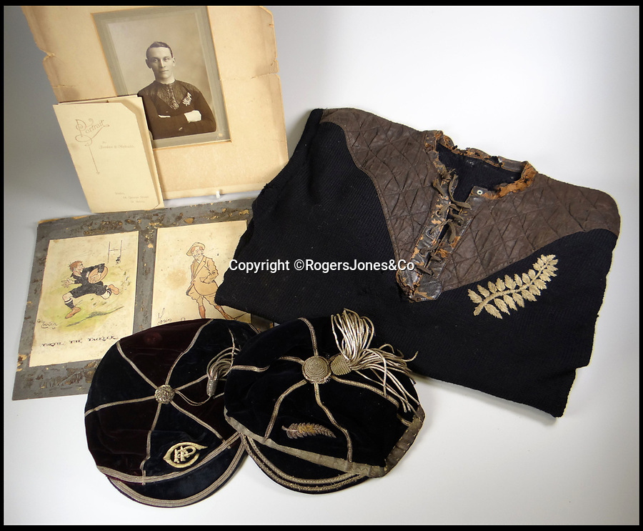 BNPS.co.uk (01202 558833)<br /> Pic: RogersJones&Co/BNPS<br /> <br /> Poignant heirlooms of British born All Black legend killed in the trenches of the Western Front during WW1.<br /> <br /> The rugby jersey of a legendary international player who was killed in battle has emerged for sale for £40,000.<br /> <br /> Jum Turtill was born in England but emigrated to New Zealand as a child and represented the All Blacks in 1905.<br /> <br /> He then returned to Britain to play rugby league for St Helens before enlisting at the outset of World War One.<br /> <br /> Turtill fought in many of the great offensives on the Western Front and eventually lost his life aged 38 at the Battle of Givenchy in April 1918.