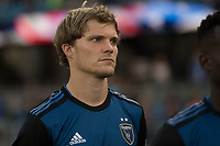 San Jose, CA - Tuesday June 11, 2019: Florian Jungwirth #23 during the National Anthem before the US Open Cup match between the San Jose Earthquakes and Sacramento Republic FC at Avaya Stadium.