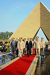 A handout picture released by the Egyptian Presidency shows Egyptian President Abdul Fattah al-Sisi (C), Defense Minister Sedki Sobhi (L) and Chief of Staff Mahmoud Hegazy (R) leaving after their visit to former Egyptian President Sadat's grave and the memorial of the Unknown Soldier tomb on October 4, 2015 in Cairo, as part of the celebrations marking the 42th anniversary of October War Victory. Photo by Egyptian President Office