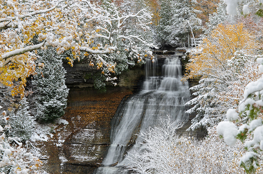 The first snowfall and the remains of autumn helped created this magical scene at Laughing Whitefish Falls. Sundell, MI