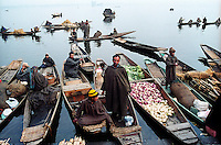 Floating market at world famous Dal Lake. Srinagar, Kashmir valley, India