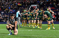 Picture by Vaughn Ridley/SWpix.com - 30/11/2013 - Rugby League - 2013 Rugby League World Cup Final - New Zealand v Australia - Old Trafford, Manchester, England - New Zealand's Sonny Bill Williams looks on as Australia celebrate victory. Rugby League World Cup 2013 re edited 11/10/2017 Best Of