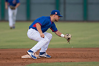 AZL Cubs 2 second baseman Levi Jordan (4) prepares to apply the tag to Bryce Bush (not pictured) on a stolen base attempt during an Arizona League game against the AZL White Sox at Sloan Park on July 13, 2018 in Mesa, Arizona. The AZL Cubs 2 defeated the AZL White Sox 6-4. (Zachary Lucy/Four Seam Images)
