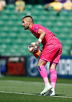 3rd November 2019; HBF Park, Perth, Western Australia, Australia; A League Football, Perth Glory versus Central Coast Mariners; Mark Birighitti of the Central Coast Mariners ready to play the ball long upfield - Editorial Use