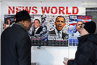 "Crowds disperse after the inauguration of Barack Obama as the 44th President of the United States, some pausing to buy memorabilia. The man on the left said to the poster seller: ""Well I've had good days and I've had bad days, and today was a good day!"""