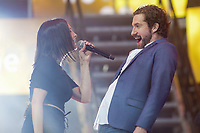 Jonas and Marie-Pierre Arthur perform at the St-Jean show on the Plains of Abraham in Quebec City during the FÍte nationale du Quebec, Thursday June 23, 2016. St-Jean Baptist is Quebec National day and is traditionally celebrated on the Plains of Abraham with a concert and a huge fire.