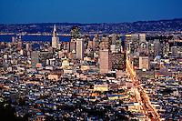 San Francisco skyline from Twin Peaks at dusk,.San Francisco, California.San Francisco skyline from Twin Peaks at dusk,.San Francisco, California