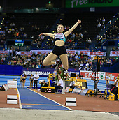 10th February 2019, Arena Birmingham, Birmingham, England; Spar British Athletics Indoor Championships; Lucy Hadaway competes in the Women's long jump during Day Two of the Spar Indoor Athletics Championships at Birmingham Arena