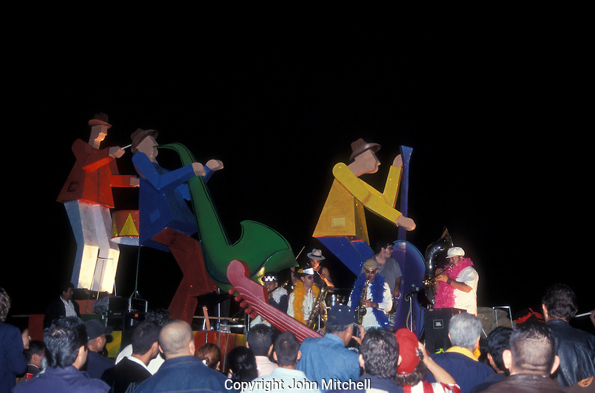 Jazz band playing on a float in the annual Mazatlan Carnaval parade, Mazatlan, Sinaloa, Mexico