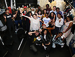 """Roddy Kennedy with High School Student performers during a Q & A before The Rockefeller Foundation and The Gilder Lehrman Institute of American History sponsored High School student #EduHam matinee performance of """"Hamilton"""" at the Richard Rodgers Theatre on June 6, 2018 in New York City."""