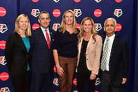 New York, NY - Thursday February 02, 2017: Amanda Duffy, Jeff Plush, Nancy Dubuc, Christie Rampone, Sunil Gulati during a joint NWSL and A+E Networks press conference at the A+E headquarters.