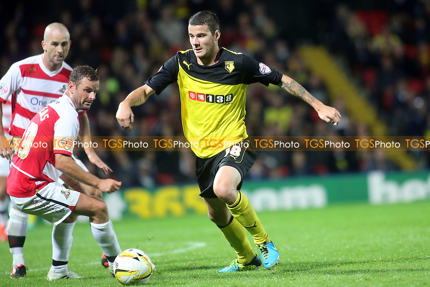 Daniel Pudil of Watford moves forward menacingly with the ball - Watford vs Doncaster Rovers - Sky Bet Championship Football at Vicarage Road Stadium, Watford, Hertfordshire - 17/09/13 - MANDATORY CREDIT: Paul Dennis/TGSPHOTO - Self billing applies where appropriate - 0845 094 6026 - contact@tgsphoto.co.uk - NO UNPAID USE
