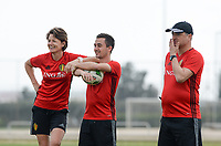 20180306 - LARNACA , CYPRUS :  Belgian physiotherapist Fabienne Van Den Steene pictured with physiotherapist Jan Van Der Jeugt and head coach Ives Serneels (r) during a Matchday -1 training from The Belgian Red Flames prior to their game against South Africa , on tuesday 6 March 2018 at the Alpha Sports Grounds in Larnaca , Cyprus . This will be the final game for Belgium during the Cyprus Womens Cup for a battle for the 5th place , a prestigious women soccer tournament as a preparation on the World Cup 2019 qualification duels. PHOTO SPORTPIX.BE | DAVID CATRY