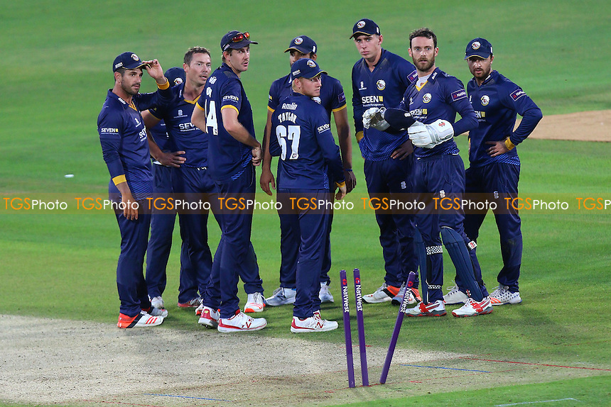 Essex players celebrate the wicket of Joe Denly during Kent Spitfires vs Essex Eagles, NatWest T20 Blast Cricket at the St Lawrence Ground on 22nd July 2016