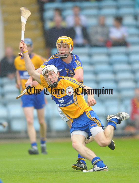Shane O Donnell of Clare in action against Barry Heffernan of Tipperary during the Munster minor hurling final at Pairc Ui Chaoimh. Photograph by John Kelly.
