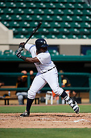 Detroit Tigers Luis Laurencio (55) at bat during a Florida Instructional League game against the Pittsburgh Pirates on October 6, 2018 at Joker Marchant Stadium in Lakeland, Florida.  (Mike Janes/Four Seam Images)