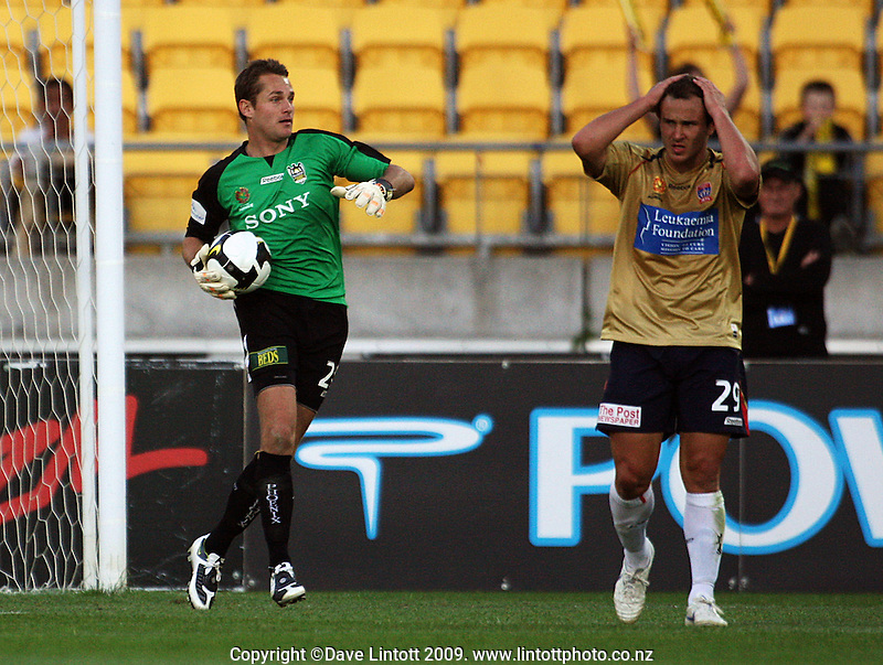 Newcastle's Sean Rooney holds his head in his hands as Glen Moss saves another Jets shot at goal during the A-League match between Wellington Phoenix and Newcastle Jets at Westpac Stadium, Wellington, New Zealand on Sunday, 4 January 2009. Photo: Dave Lintott / lintottphoto.co.nz