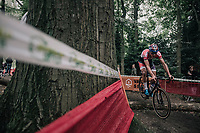 Mathieu van der Poel (NED/Beobank-Corendon) bunnyhopping a log<br /> <br /> CX Brico Cross Eeklo 2017 (BEL)