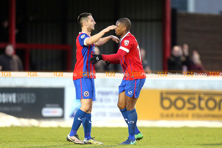 Daggers players celebrate the victory after Dagenham & Redbridge vs Chester, Vanarama National League Football at the Chigwell Construction Stadium on 4th February 2017