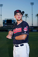 Henry Pujols (28) of the AZL Indians poses for a photo before a game against the AZL Padres on August 30, 2017 at Goodyear Ball Park in Goodyear, Arizona. (Zachary Lucy/Four Seam Images)