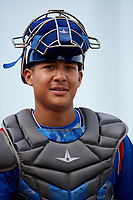 South Bend Cubs catcher Miguel Amaya (9) during the first game of a doubleheader against the Lake County Captains on May 16, 2018 at Classic Park in Eastlake, Ohio.  South Bend defeated Lake County 6-4 in twelve innings.  (Mike Janes/Four Seam Images)