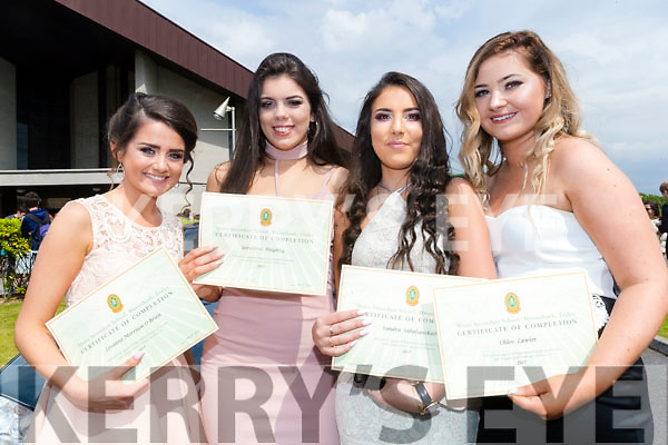 Pictured at Mounthawk Secondary School, Tralee, graduation Mass at Our Lady & St. Brendan's Church, Tralee on Friday afternoon last were l-r: Leanne O'Brien, Geraldine Knightly, Sandra Sab and Chloe Lawlor.