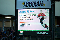 20121216 Copyright onEdition 2012©.Free for editorial use image, please credit: onEdition..General view of the scoreboard signage during the Heineken Cup Round 4 match between Saracens and Munster Rugby at Vicarage Road on Sunday 16th December 2012 (Photo by Rob Munro)..For press contacts contact: Sam Feasey at brandRapport on M: +44 (0)7717 757114 E: SFeasey@brand-rapport.com..If you require a higher resolution image or you have any other onEdition photographic enquiries, please contact onEdition on 0845 900 2 900 or email info@onEdition.com.This image is copyright onEdition 2012©..This image has been supplied by onEdition and must be credited onEdition. The author is asserting his full Moral rights in relation to the publication of this image. Rights for onward transmission of any image or file is not granted or implied. Changing or deleting Copyright information is illegal as specified in the Copyright, Design and Patents Act 1988. If you are in any way unsure of your right to publish this image please contact onEdition on 0845 900 2 900 or email info@onEdition.com