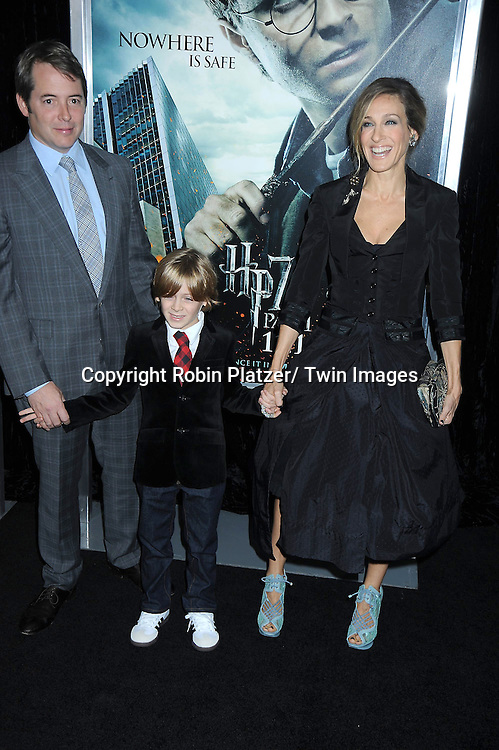 "Matthew Broderick, son James and Sarah Jessica Parker attending The New York Premiere of .""Harry Potter and the Deathly Hallows-Part 1"" on November 15, 2010 at Alice Tully Hall"