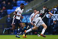 Bolton Wanderers'  Sammy Ameobi  taking on Tomas Kalas  <br /> <br /> Photographer Leila Coker/CameraSport<br /> <br /> The EFL Sky Bet Championship - Bolton Wanderers v Fulham - Saturday 10th February 2018 - Macron Stadium - Bolton<br /> <br /> World Copyright &copy; 2018 CameraSport. All rights reserved. 43 Linden Ave. Countesthorpe. Leicester. England. LE8 5PG - Tel: +44 (0) 116 277 4147 - admin@camerasport.com - www.camerasport.com