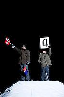 """Kirkenes, Norge, 09.02.2012. Morten Traavik og hans Nord-Koreanske kollegaer under generalprøven til hans arrirang oppvisning. Den 1. februar 2012 lastet kunstner Morten Traavik opp en videosnutt på You Tube av Nord-Koreanske ungdommer som spiller A-Ha hiten """"Take on Me"""" på trekkspill. En uke etter ha over en million mennesker sett videoen. En delegasjon Nord-Koreanere er i Kirkenes i forbindelse med festivalen """"Barents Spetakel"""". Foto: Christopher Olssøn"""