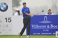 David Howell (ENG) tees off the 15th tee during Friday's Round 2 of the 2014 BMW Masters held at Lake Malaren, Shanghai, China 31st October 2014.<br /> Picture: Eoin Clarke www.golffile.ie